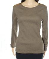 Lauren Ralph Lauren Brown Women Large L Zip Detail Crewneck Sweater