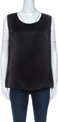 Escada Black Silk Sleeveless Tank Top XL