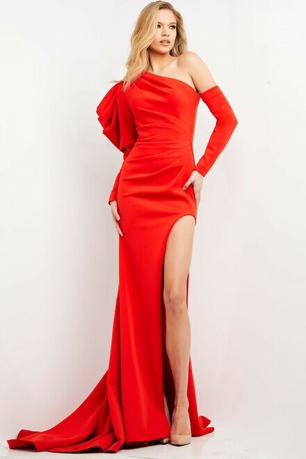 Thumbnail for your product : Jovani Long Sleeve High Slit Gown