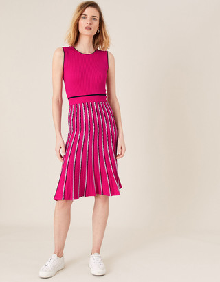 Monsoon Mimi Ribbed Knit Sleeveless Dress Pink