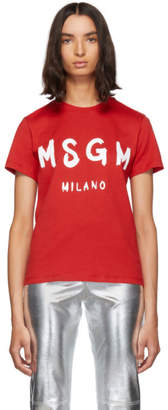 MSGM Red Paint Brushed Logo T-Shirt