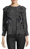 Collective Concepts Ruffled-Trim Dot-Print Blouse
