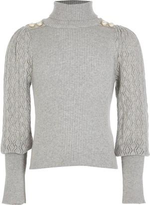 River Island Girls Grey puff sleeve roll neck jumper