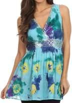 Sakkas 13518 - Allena Sequin Embroide Sleeveless Elegant V-Neck Blouse / Top - XL