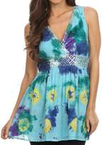 Sakkas 13518 - Allena Sequin Embroidered Sleeveless Elegant V-Neck Blouse / Top - M