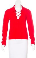 Cacharel Lace-Up Long Sleeve Sweater