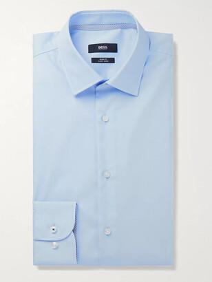 HUGO BOSS Light-Blue Jessi Slim-Fit Cotton-Poplin Shirt