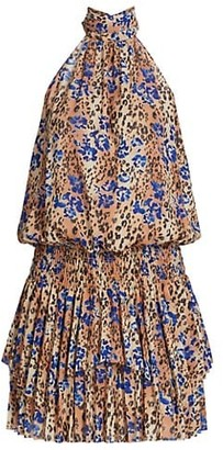 Ramy Brook Delilah Leopard & Floral Print Mini Halter Dress