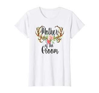 Womens Mother Of The Groom Deer Antlers Flowers Bridal Wedding Gift T-Shirt