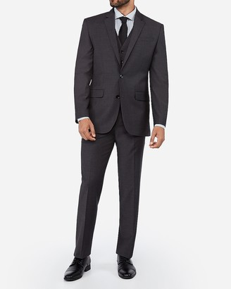 Express Classic Charcoal Wool Blend Wrinkle-Resistant Performance Suit Jacket