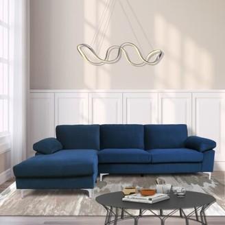 Ivy Bronx Krajewski 103.5'' Wide Velvet Left Hand Facing Sofa & Chaise Upholstery Color: Navy Blue