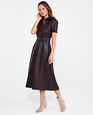 Ann Taylor Petite Faux Leather Midi Dress