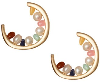 Cult Gaia Goldie 5MM-8MM Baroque Pearl Hoop Earrings