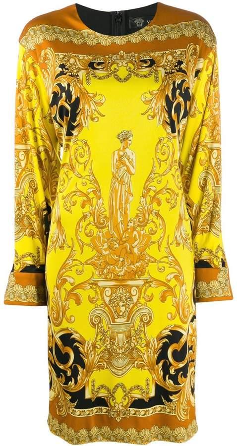 d9cf9cca Barocco print long-sleeved dress