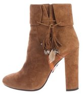 Aquazzura Suede Embellished Ankle Boots