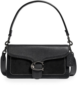 Coach 1941 Tabby Mix Leather Shoulder Bag w/ Beaded Gunmetal Trim