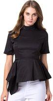 Azbro Women's Asymmetric High Waist High Neck Half Sleeve Solid Blouse, M