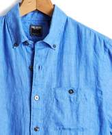 Todd Snyder Short Sleeve Linen Button Down Shirt in Bright Blue