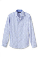 Classic Men's Tall Tailored Fit Long Sleeve Port Poplin Canvas Shirt-Blue Neat