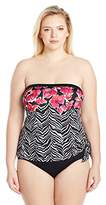 Maxine Of Hollywood Women's Plus Size Zebra Garden Tie-Side Bandeau One Piece Swimsuit with Removable Straps