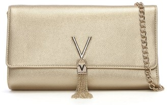 Valentino By Mario Valentino Divina Gold Pebbled Clutch Bag