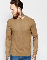 Asos Cable Knit Jumper In Mustard Twist Cotton
