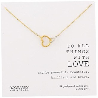 Dogeared Do All The Things with Love Two Linked Hearts Necklace (Gold Dip) Necklace