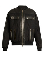 Balmain Leather-panelled Cotton-blend Bomber Jacket