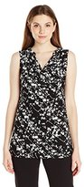 Ellen Tracy Women's Sleeveless Drape Neck Top