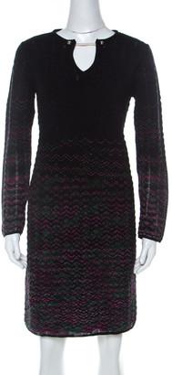 M Missoni Multicolor Ombre Pattern Knit Long Sleeve Dress M