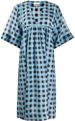 Ganni Checkered Tent Midi Dress