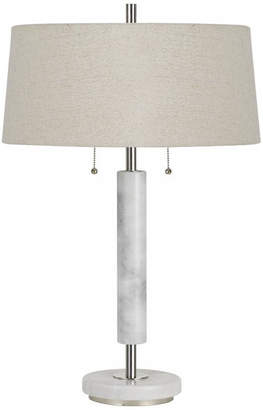 Cal Lighting 60W X 2 Mexia Marble Desk Lamp w/ Pull Chain Switches & Burlap Shade
