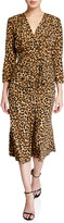 Veronica Beard Arielle Leopard-Print V-Neck Dress