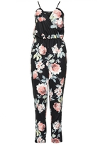 Quiz Black and Coral Floral Print Strappy Jumpsuit