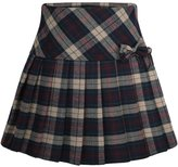 Chouyatou Women's Retro High-Waisted Plaid Aline Pleated Tartan Skirt with Bowknot