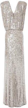 Monique Lhuillier Draped Gathered Sequined Stretch-mesh Gown