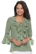 My Michelle Juniors' Ruffle Bell Sleeve Top