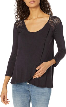 Everly Grey Women's Aaliyah Maternity and Nursing Lace Detail Long Sleeve Top