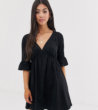 ASOS DESIGN petite v neck frill sleeve smock dress in black