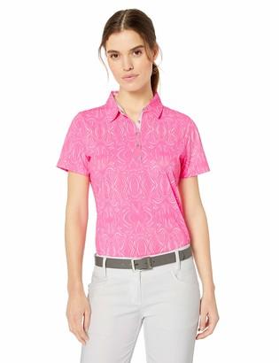 Cutter & Buck Women's Drytec UPF 50+ Short Sleeve Print Stretch Jersey Polo Shirt