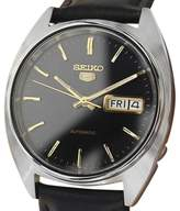 Seiko 5 Stainless Steel & Leather Black Dial Automatic 36mm Mens Watch c1970