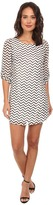 Gabriella Rocha Chevron Chiffon 3/4 Sleeve Shift Dress
