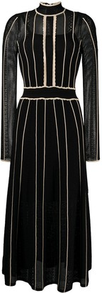 Sandro Embroidered Long-Sleeve Flared Dress