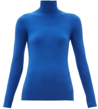 JoosTricot Peachskin Roll-neck Cotton-blend Sweater - Womens - Blue