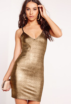 Missguided Strappy Metallic Bodycon Dress Gold