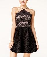 Trixxi Juniors' Lace and Velvet-Detail Dress