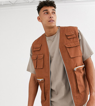 ASOS DESIGN Tall utility gilet in tan