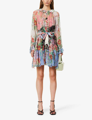 Zimmermann Floral-print silk-crepe mini dress