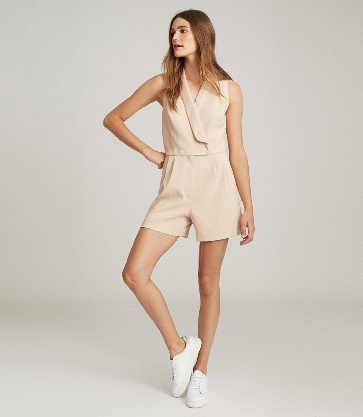 Thumbnail for your product : Reiss Georgia - Tuxedo Front Playsuit in Neutral