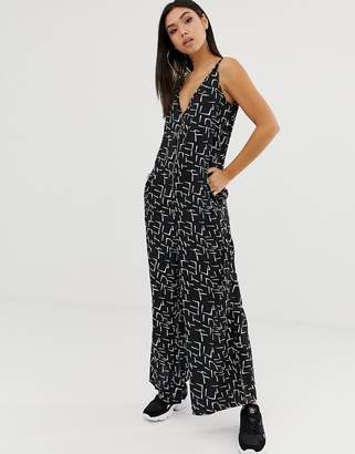 Noisy May Monochrome graphic print jumpsuit